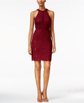 Night Way Nightway Petite Sequined Lace Halter Sheath Dress