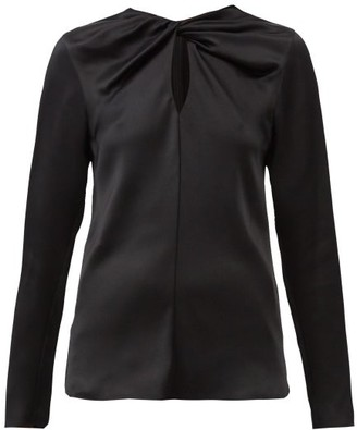 Giambattista Valli Twisted Keyhole-neck Silk-satin Blouse - Black