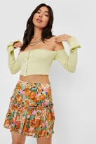 Thumbnail for your product : Nasty Gal Womens Floral Pleated Mini Skirt - Multi - 14