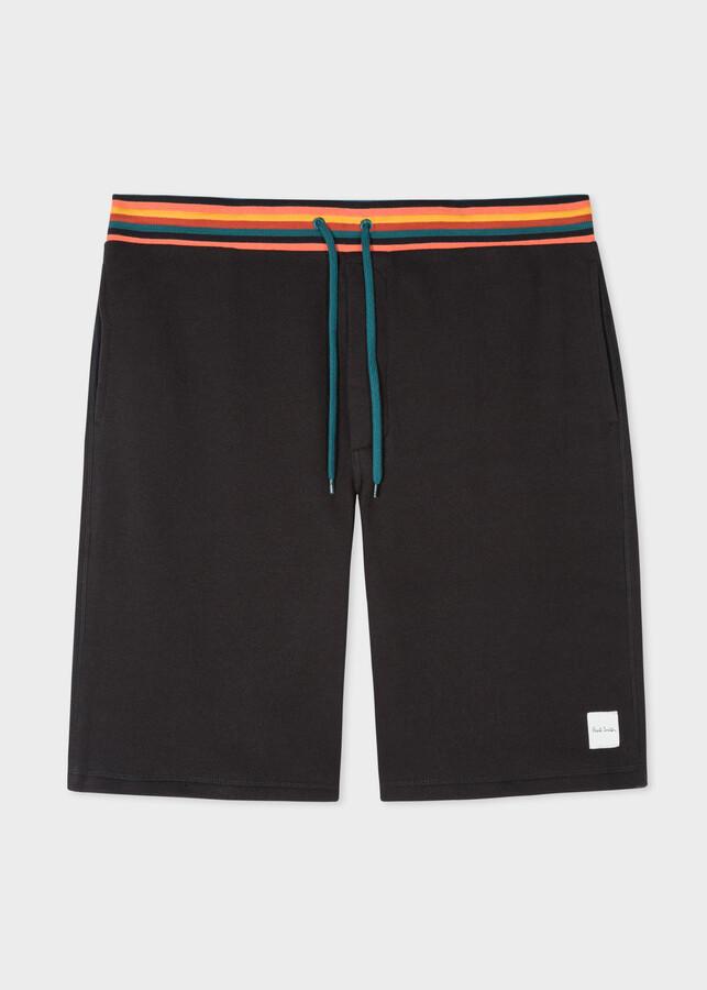 Paul Smith Men's Black Jersey Shorts With 'Artist Stripe' Waistband