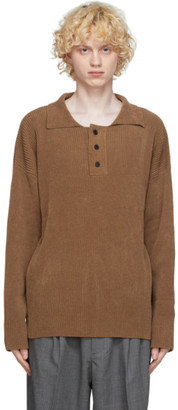 mfpen Brown Knit Long Sleeve Polo