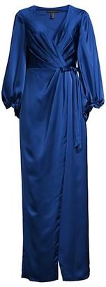 Aidan Mattox Satin Wrap Gown