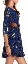 Charlotte Russe Mesh Inset Printed Skater Dress