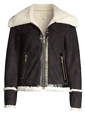 MICHAEL Michael Kors Women's Faux Shearling Trim Biker Jacket