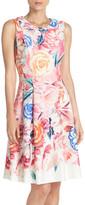 Eliza J Floral Print Scuba Fit & Flare Dress (Petite)