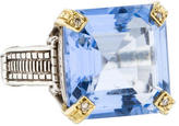 Judith Ripka Bi-Color Blue Quartz & Diamond Cocktail Ring