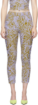 Gauntlett Cheng Yellow and Purple Leaf Skeleton Leggings
