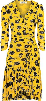 Diane von Furstenberg Ruffled Printed Stretch-mesh Wrap Dress