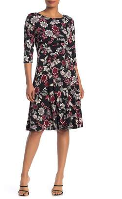 Sandra Darren 3/4 Length Sleeve Floral Print ITY Knit Fit and Flare Dress
