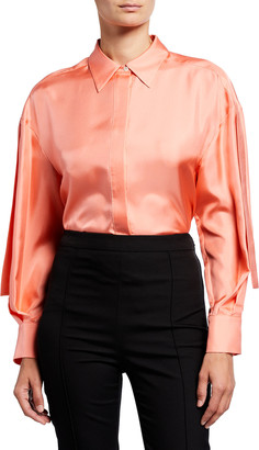 PARTOW Frances Sleeve-Tie Silk Blouse