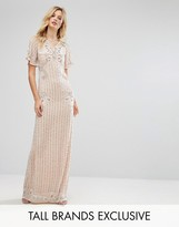 Frock and Frill Tall Frock And Frill Tall Premium Embellished Maxi Dress With Fluted Sleeve Detail