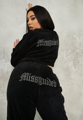 Missguided Plus Size Black Velour Hotfix Sweatshirt And Joggers Co Ord Set