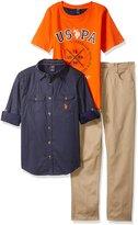 U.S. Polo Assn. Big Boys' Long Sleeve Woven Shirt, T-Shirt and Twill Jean