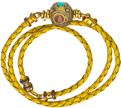 Jacqueline Pinto Braided Yellow Leather Wrap Bracelet with Brass Turquoise and Coral