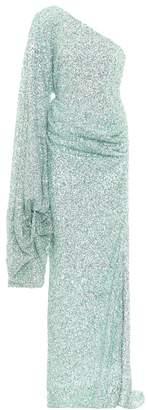 Halpern Sequined one-shoulder gown