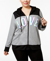 Material Girl Active Plus Size Love Graphic Hoodie, Only at Macy's