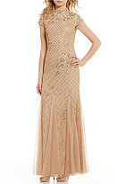 Adrianna Papell Beaded Lace Mock Neck Cap Sleeve Gown