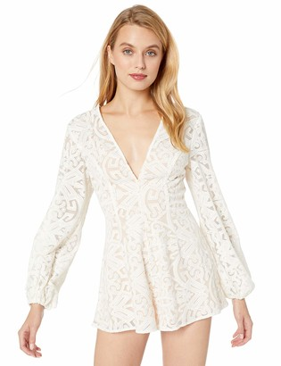 Finders Keepers findersKEEPERS Women's Sofia Longsleeve LACE Plunging Romper Playsuit