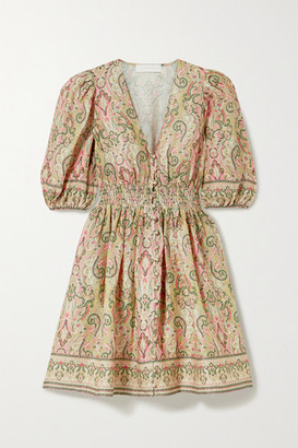 Zimmermann Freja Shirred Paisley-print Linen Mini Dress - Baby pink