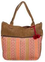 Handwoven Pink and Brown Tote Handbag from Guatemala, 'Quiet Maya Rose'
