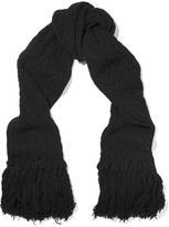 Agnona Fringed wool and cashmere-blend scarf
