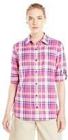 Dickies Women's Quarter Sleeve Roll-up Plaid Shirt