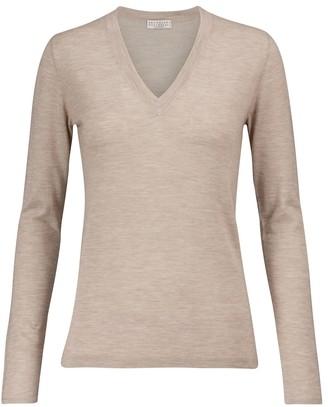 Brunello Cucinelli V-neck cashmere and silk sweater