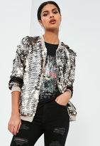 Missguided Silver Sequin Bomber Jacket