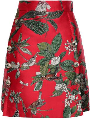Dolce & Gabbana Button-embellished Metallic Brocade Mini Skirt