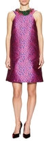 Monique Lhuillier Fringe Collar Printed Shift Dress