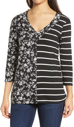 Loveappella Floral Stripe Top
