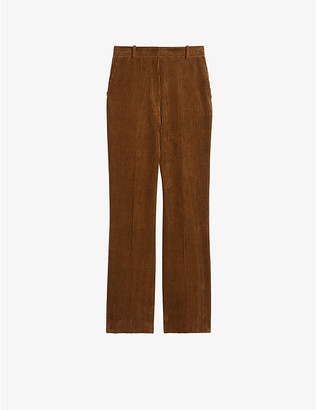 Sandro Tebi straight high-rise cotton-corduroy trousers