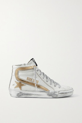 Golden Goose Slide Metallic Distressed Leather High-top Sneakers - White