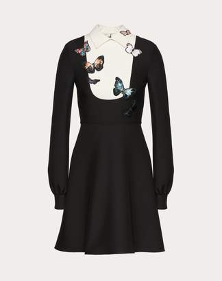 Valentino Crepe Couture Dress With Butterfly Embroidery Women Black 38