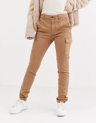 Pimkie skinny cargo trouser in brown