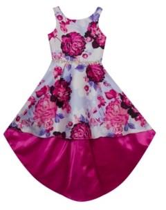 Rare Editions Little Girls Printed Mikado Extreme Hi-Low Dress