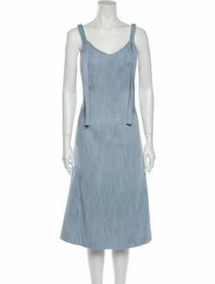 Adam Lippes Scoop Neck Midi Length Dress w/ Tags Blue