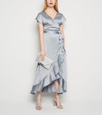 New Look Satin Ruffle Trim Belted Midi Dress