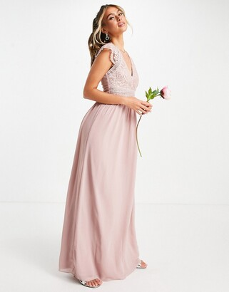 TFNC Bridesmaid lace wrap maxi dress with gathered skirt in grey