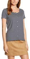 Tom Tailor Women's Striped Shirt w. Placket T-Shirt,34 (Herstellergröße: XS)