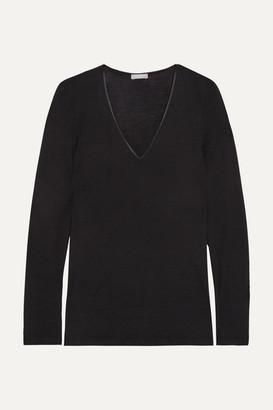 Hanro Merino Wool And Silk-blend Jersey Top - Black