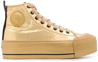 Diesel Platform Metallic Sheen Sneakers