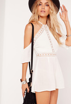 Missguided Cheese Cloth Cold Shoulder Romper White