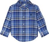 Ralph Lauren White Embroidered Logo Button fastening Checked Cotton Shirt 9-24 Months