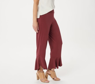 Susan Graver Petite Liquid Knit Tulip Hem Crop Pants