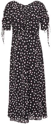 Kate Spade Gathered Printed Crepe Midi Dress