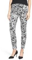 Women's Jen7 Floral Print Sateen Stretch Ankle Skinny Pants