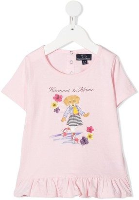 Harmont & Blaine Junior graphic-print ruffle-trim T-Shirt