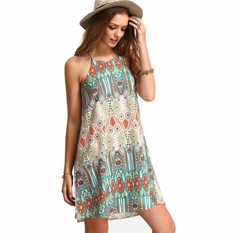KEERADS Women Retro Sleeveless Party Summer Beach Short Mini Dress (Tag L= UK M