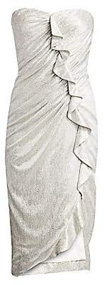 Jonathan Simkhai Women's Plisse Lamé Ruffled Bustier Dress